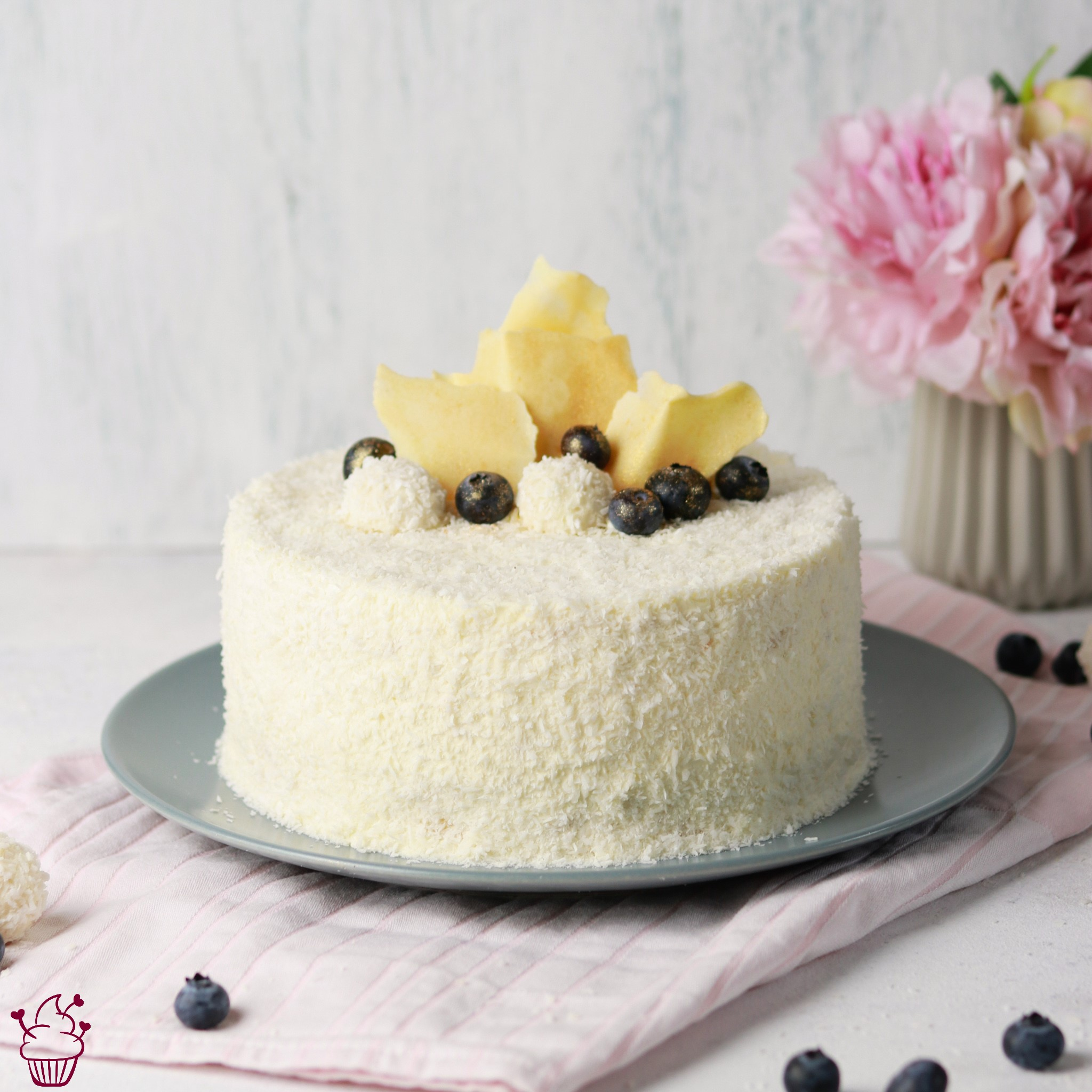 Kokos-Heidelbeer-Torte